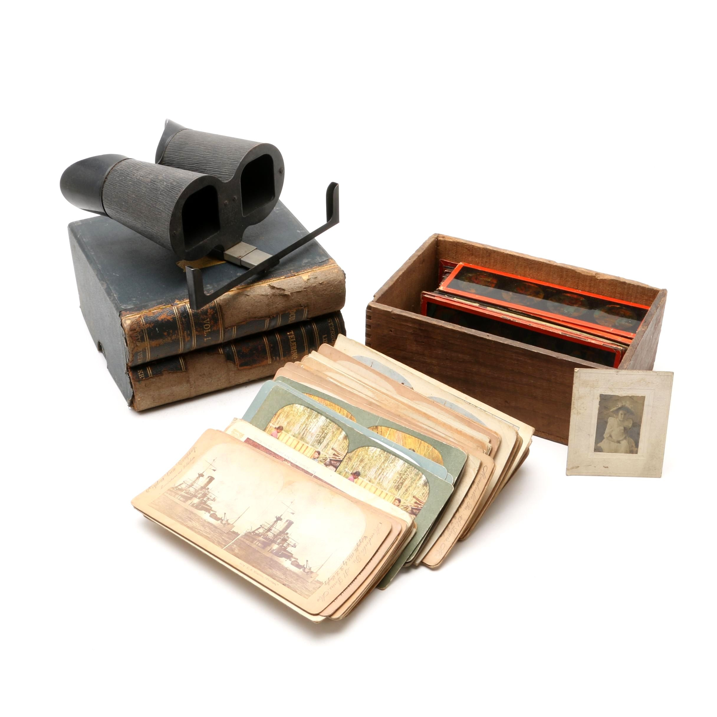 Collection of Antique Stereoviews, Stereoscope, and Glass Illustration Slides