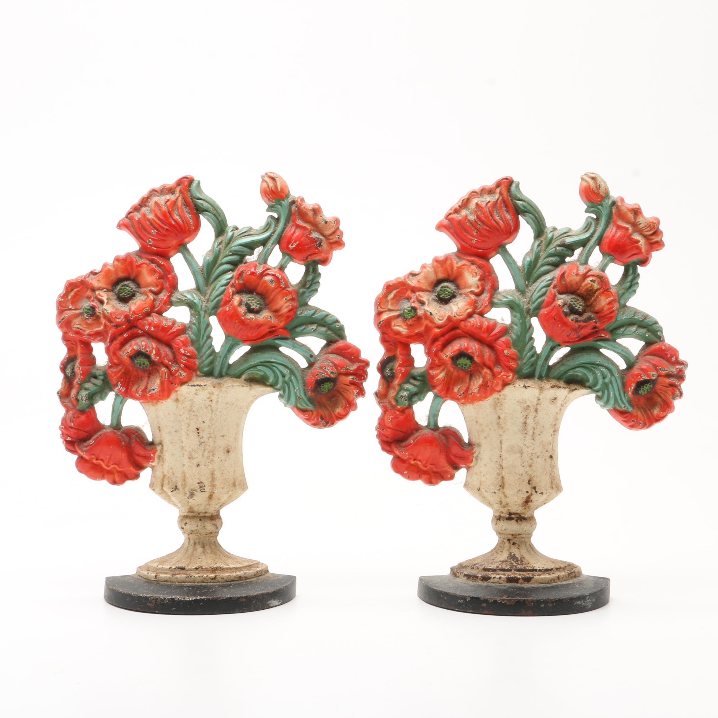 Hubley Cast Iron Floral Poppy Urn Doorstops