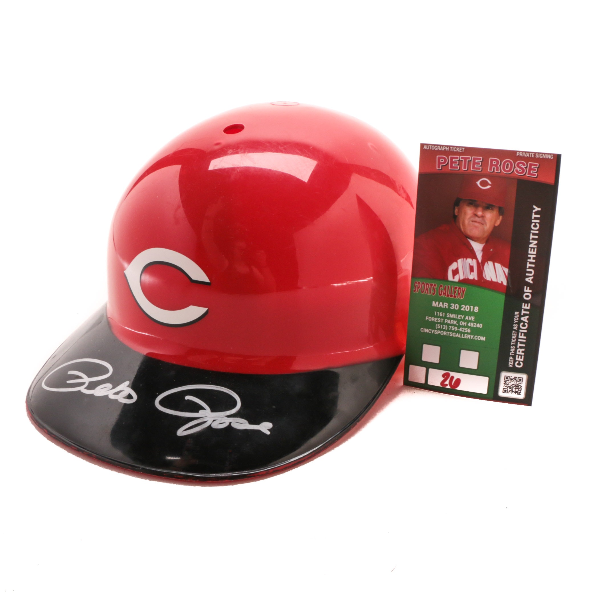 Pete Rose Signed Batting Helmet  COA
