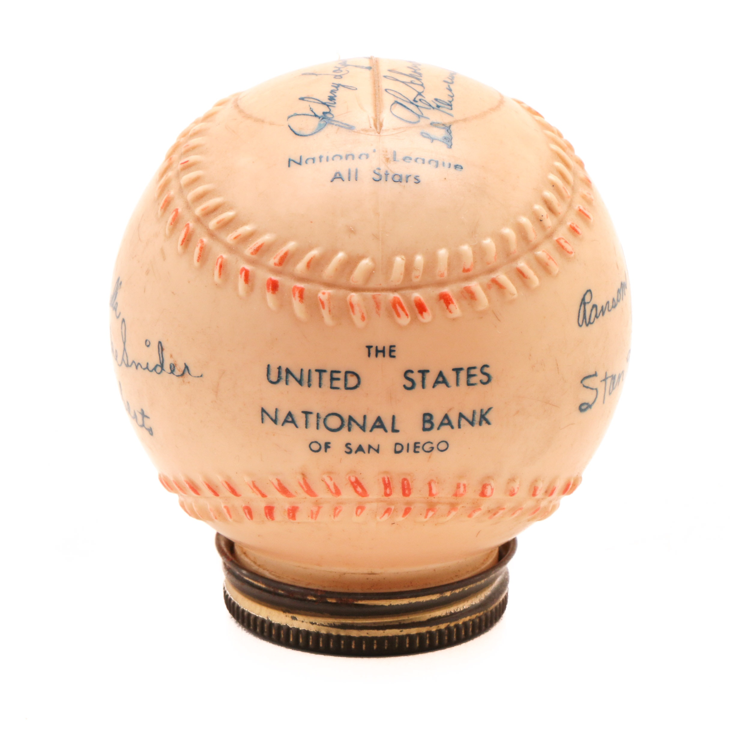 1950s National League All-Stars Baseball Bank With Replica Signatures