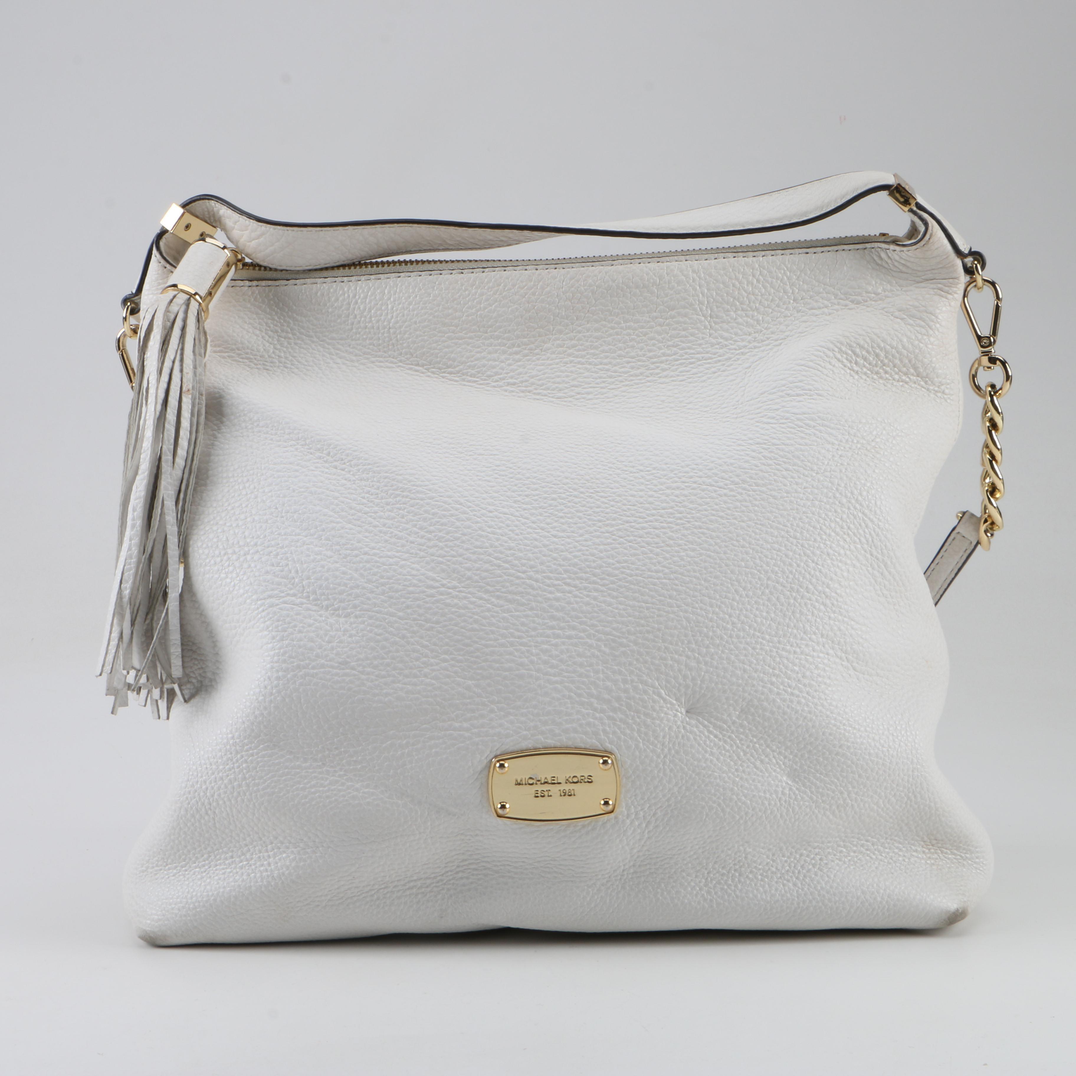 MICHAEL Michael Kors White Pebbled Leather Satchel