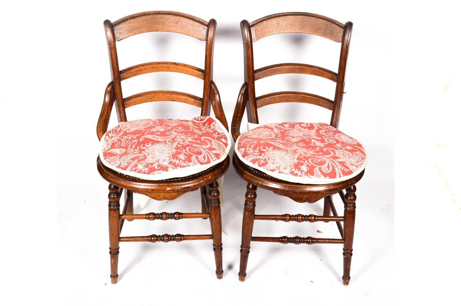 Antique Late Victorian Side Chairs with Needlepoint Upholstery