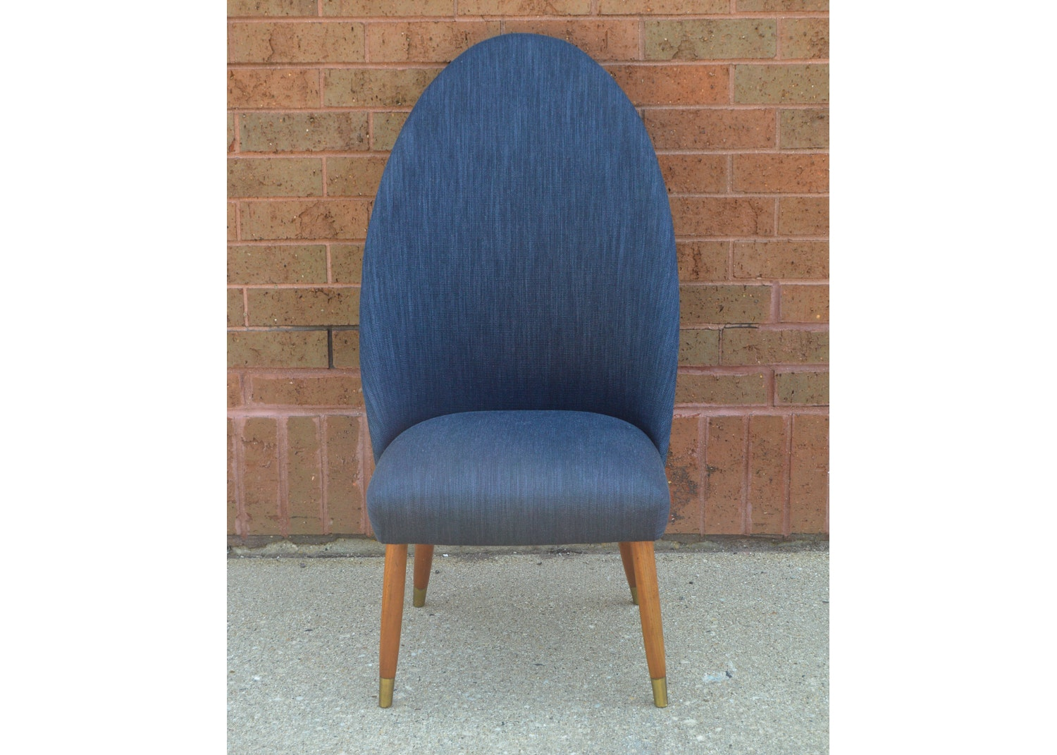 Mid Century Modern Blue Upholstered Slipper Chair ...