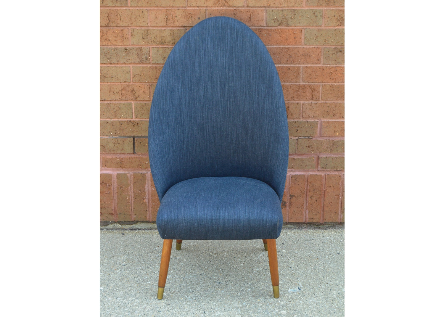 Mid Century Modern Blue Upholstered Side Chair