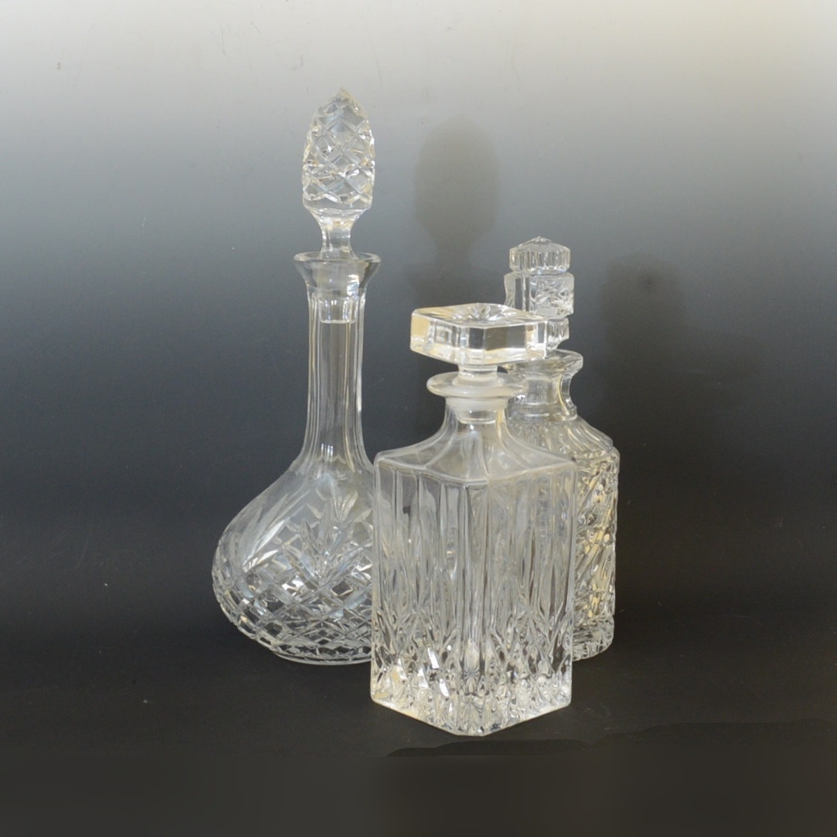 Pressed and Cut Crystal Decanters