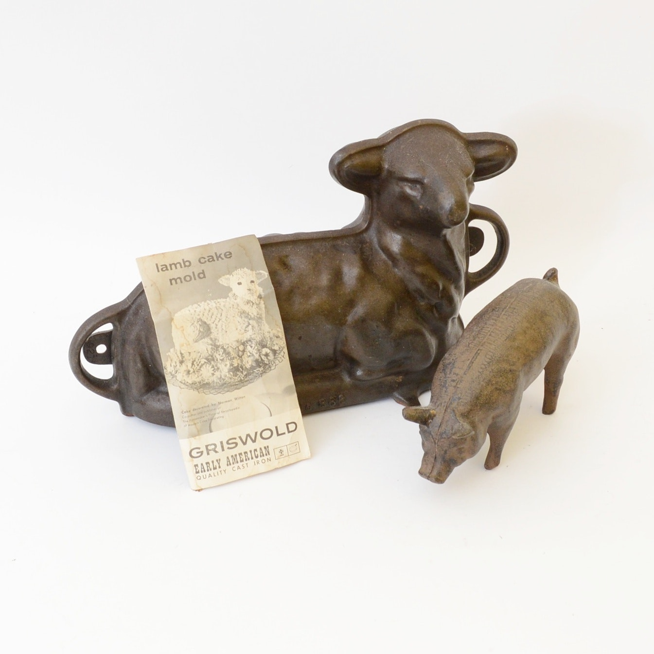 Vintage Cast Iron Griswold Lamb Cake Mold and Pig