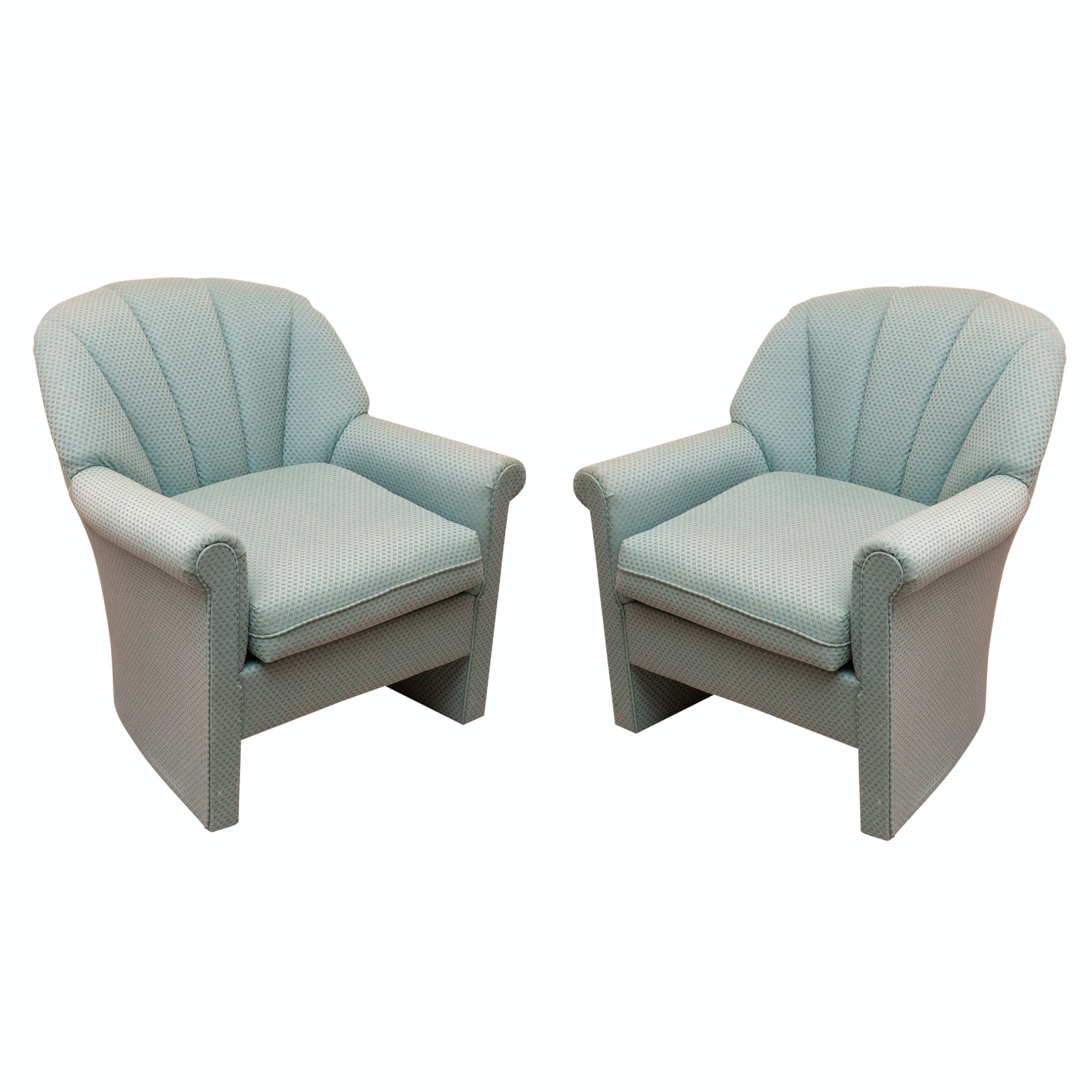Two Sea Green Upholstered Armchairs