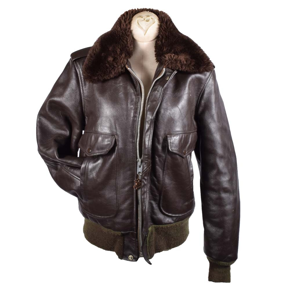 Golden Fleece USA Brown Leather Bomber Motorcycle Jacket with Faux Fur