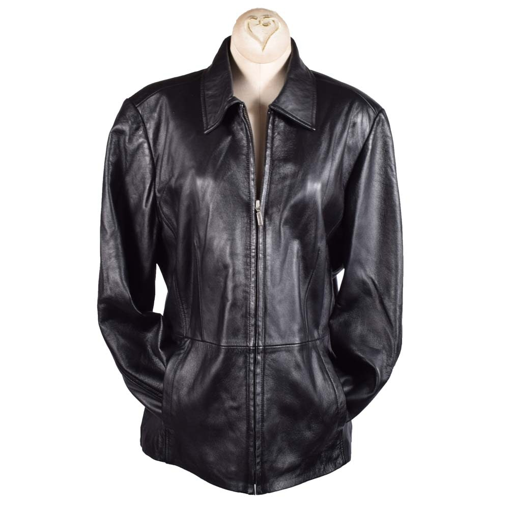 Women's Croft & Barrow Black Lambskin Leather Jacket