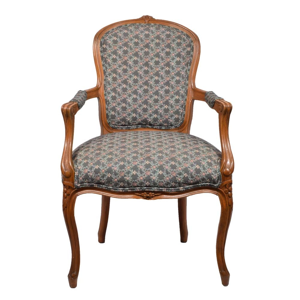 Victorian Style Tapestry Upholstered Armchair