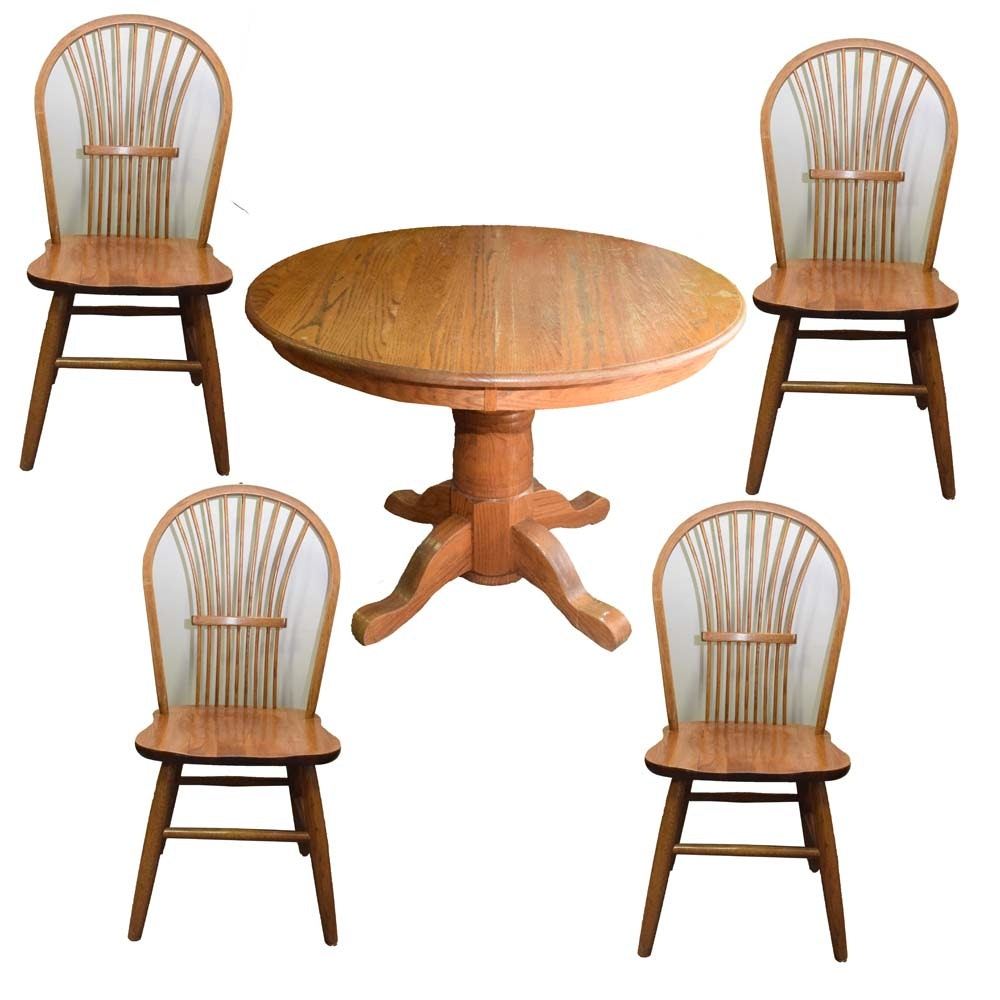 Oak Dining Table with Four Chairs
