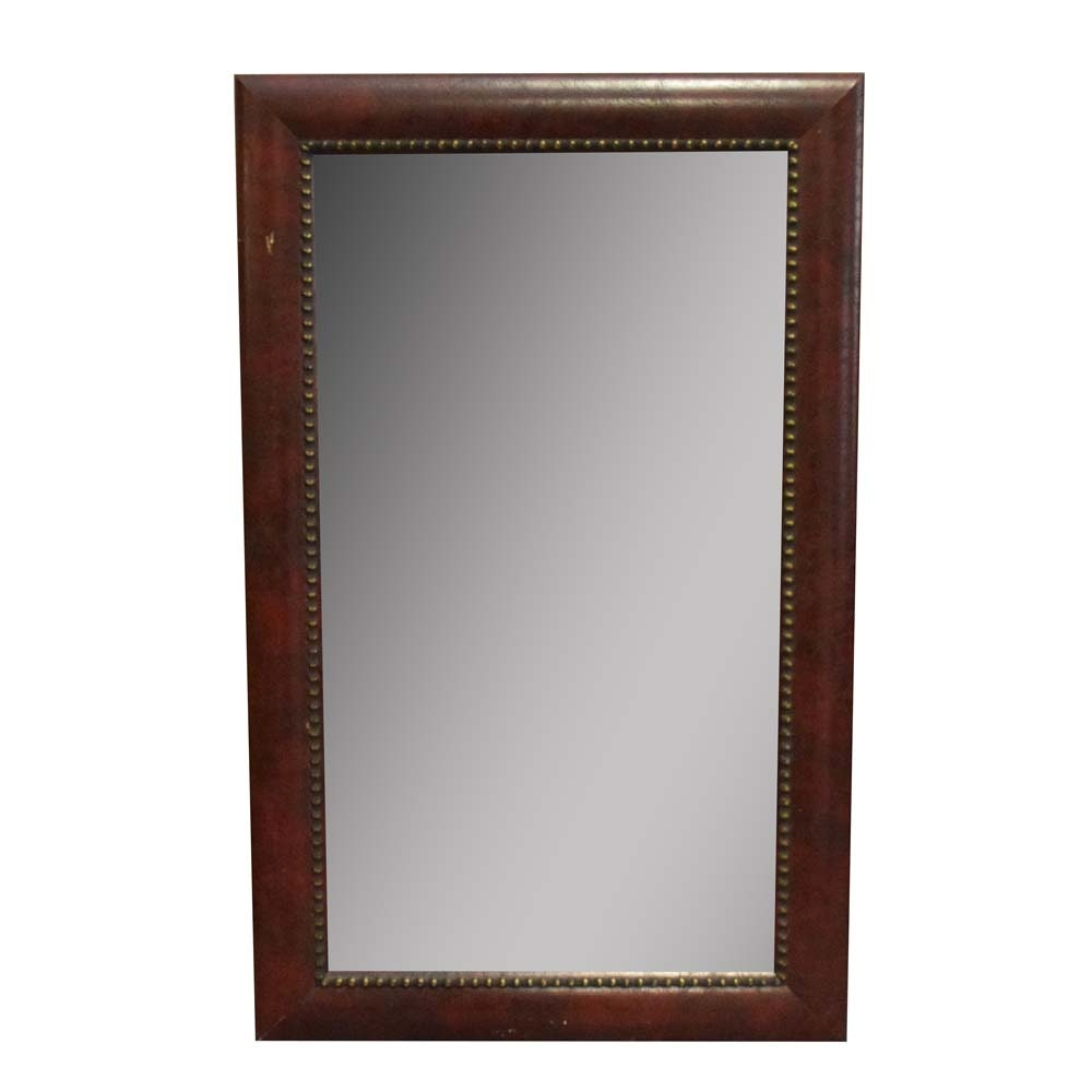 Faux Leather Framed Accent Wall Mirror