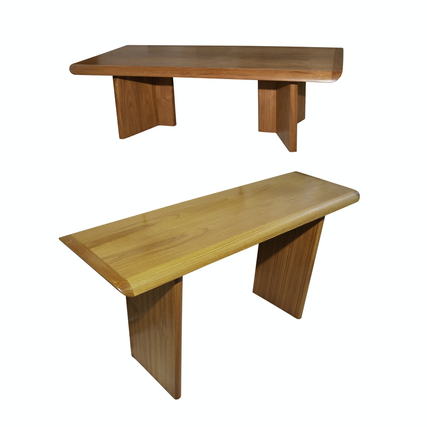 Bova Furniture Teak Console And Coffee Table Ebth