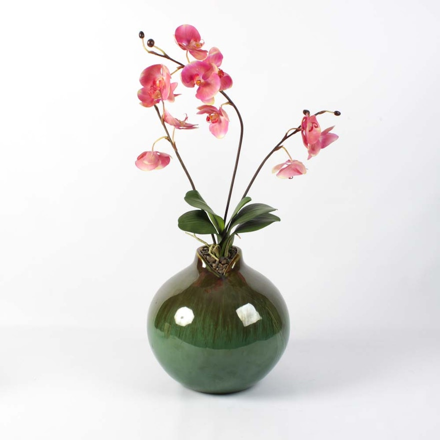 Large Pottery Vase Of Faux Orchids Ebth