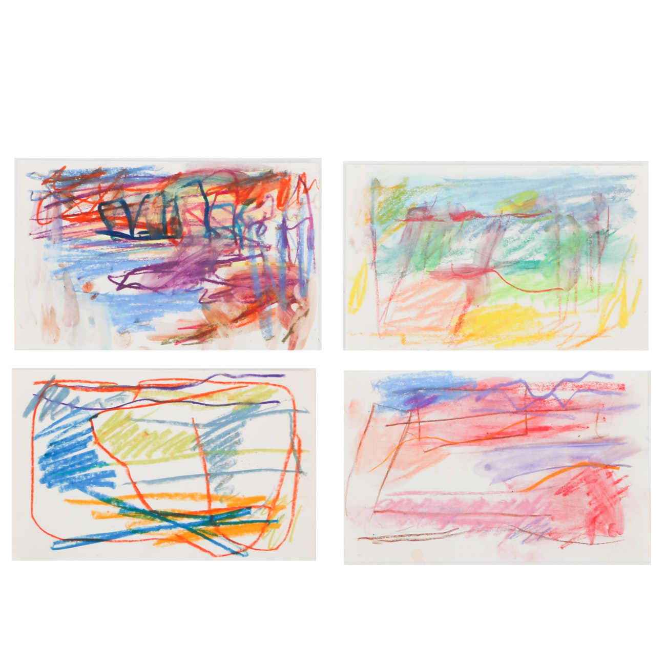 Four Paul Chidlaw Original Abstract Oil Pastel Drawings on Paper