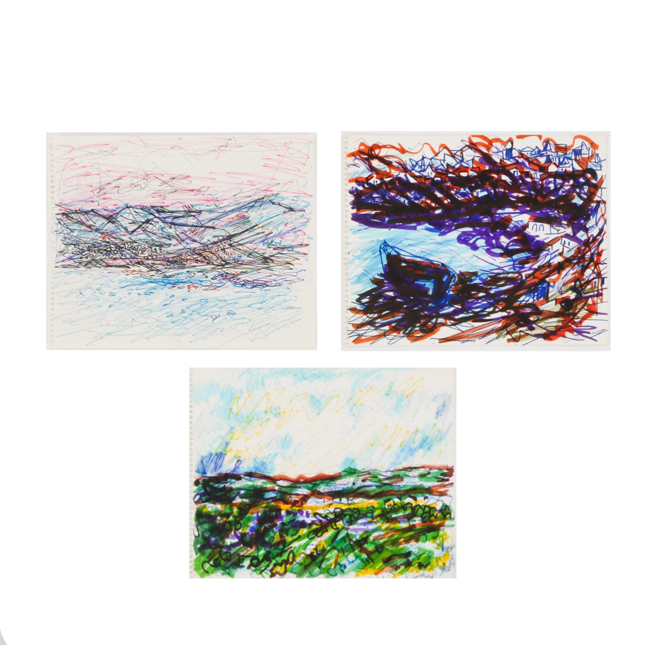 Three Paul Chidlaw Original Abstract Ink Marker Drawings on Paper