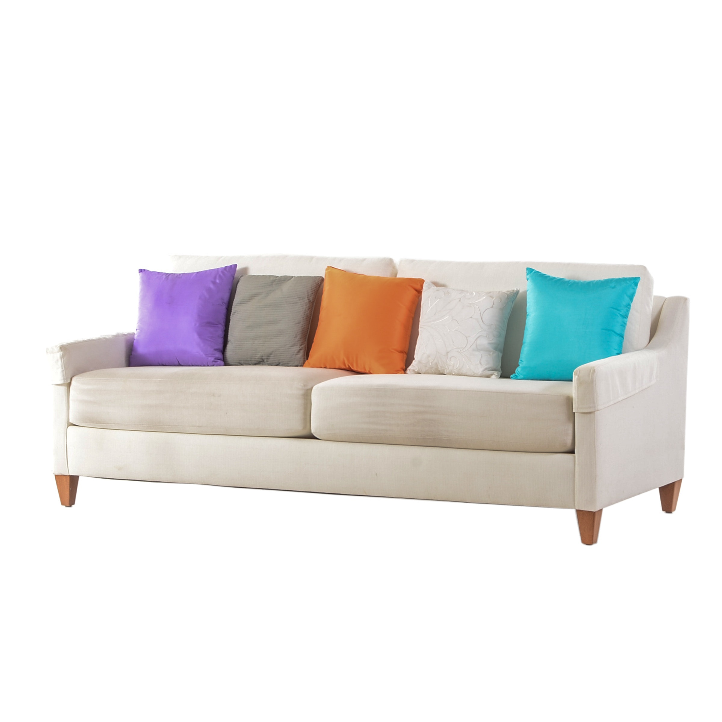 Upholstered Ethan Allen Sofa with Accent Pillows