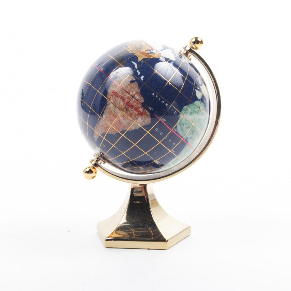 Inlaid Gemstone Decorative Globe