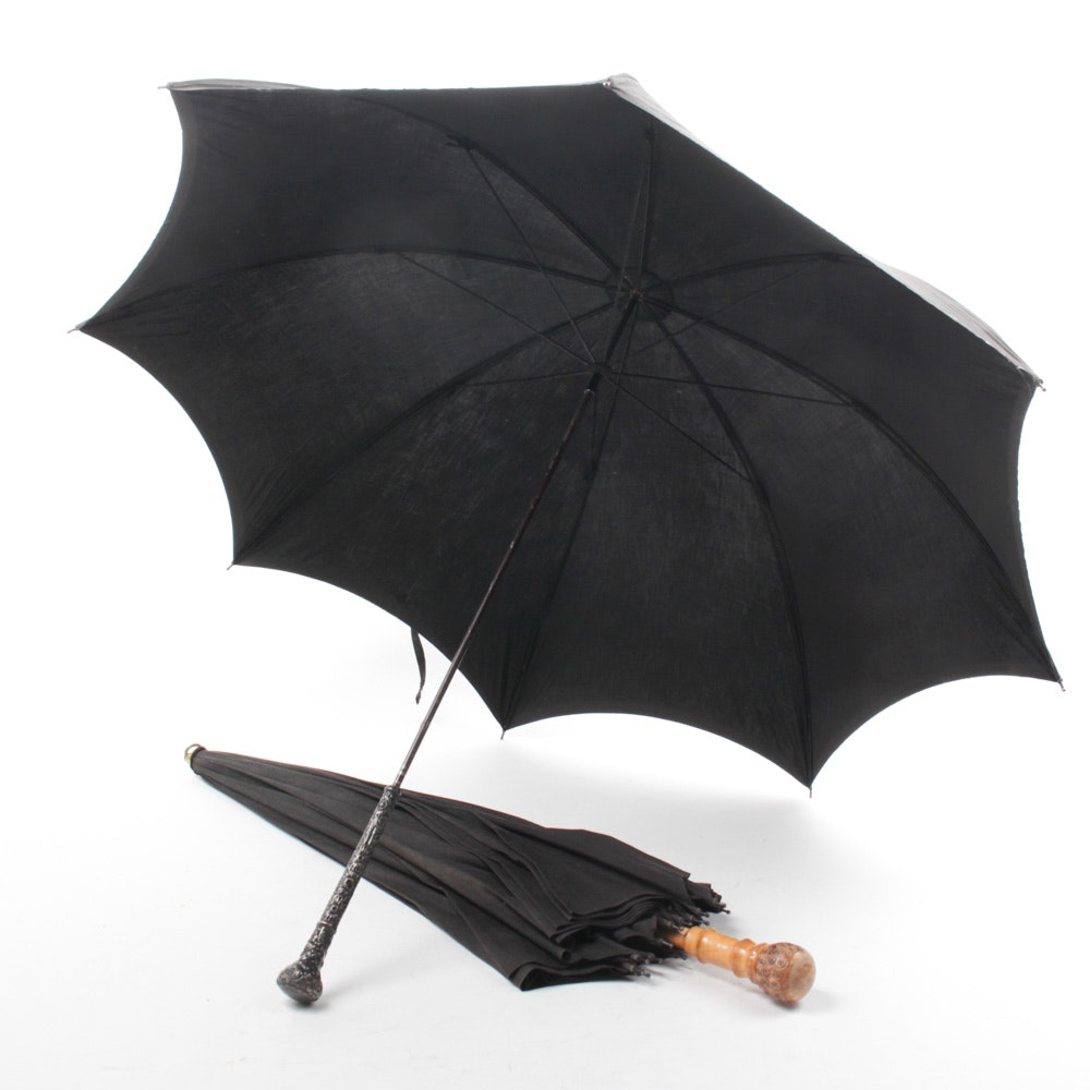 Vintage Black Umbrellas with Floral Repoussé Handle and Carved Wood Handle