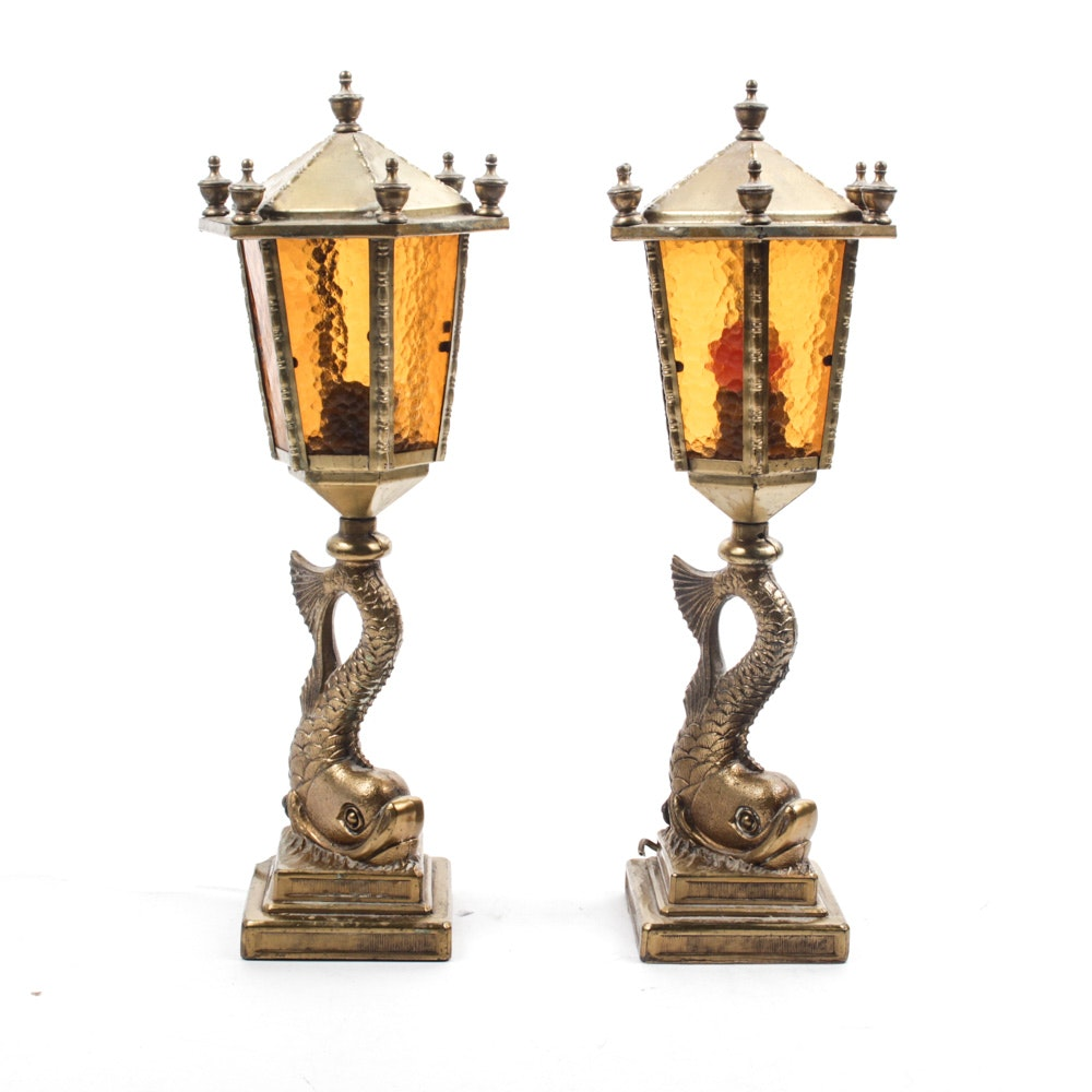 Brass Dolphin Mantel Lamps