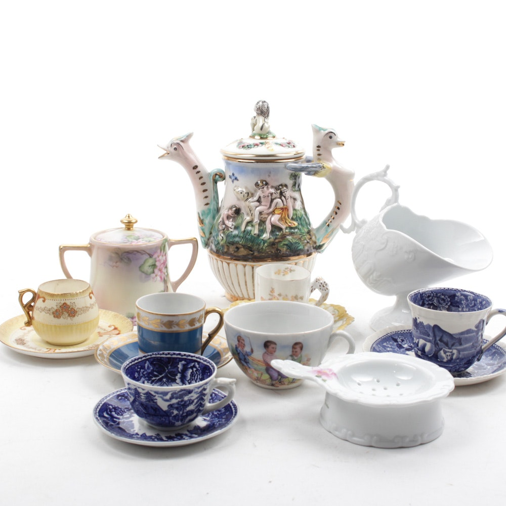 Vintage Porcelain Teacups and Accessories Featuring Capodimonte