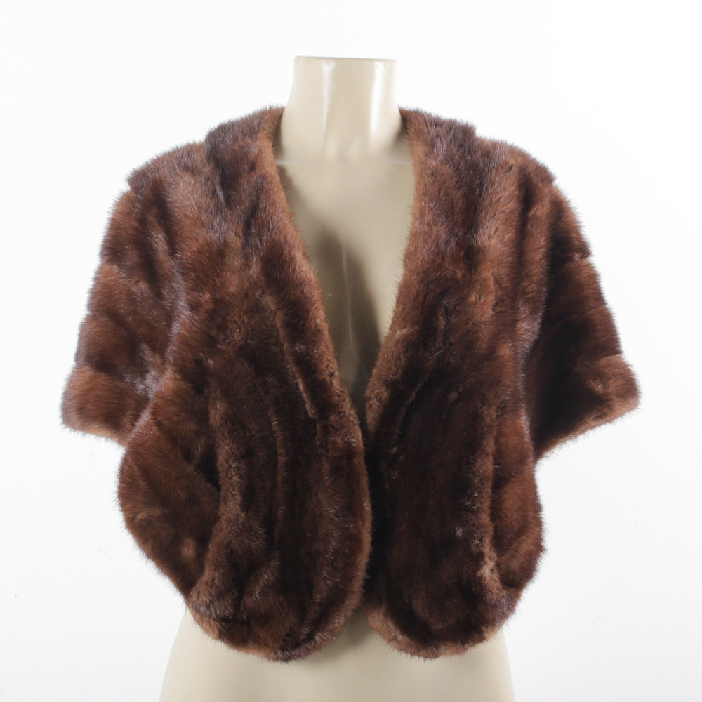 Vintage Brown Mink Fur Stole from Engler Furs in Chicago with Cap