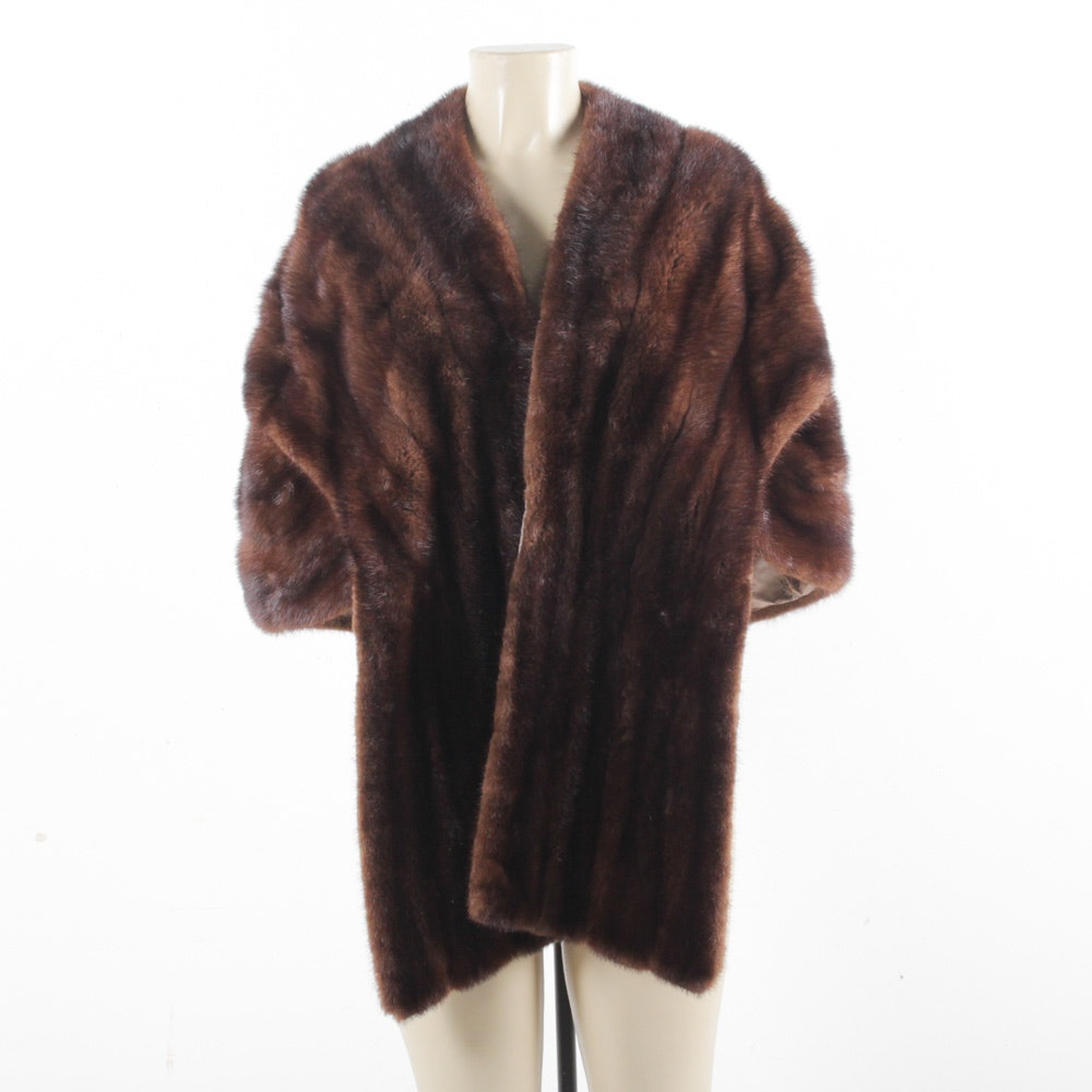 Vintage Brown Mink Fur Stole with Extended Front