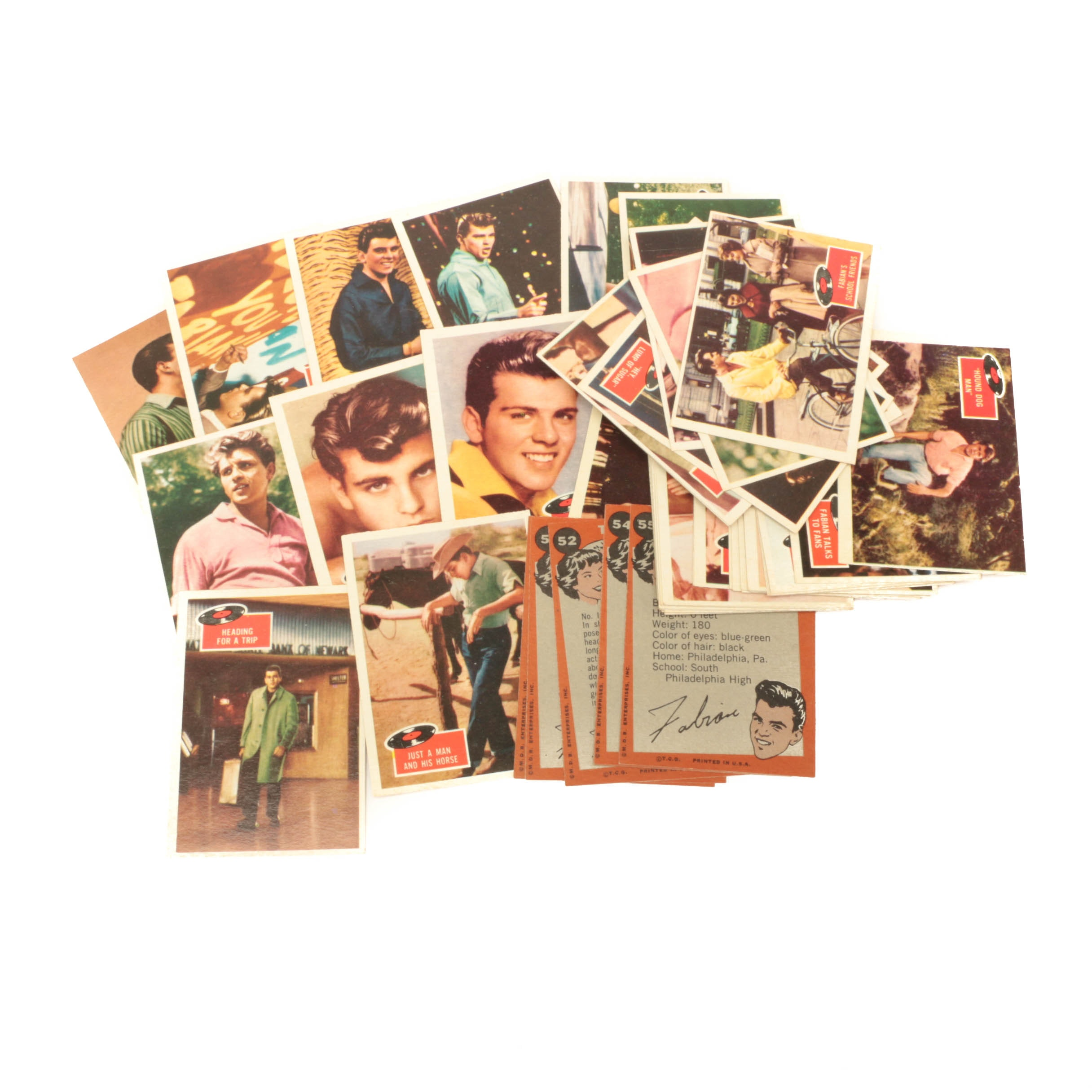 "1959 ""Fabian"" Rock-N-Roll Topps Complete Trading Card Set"