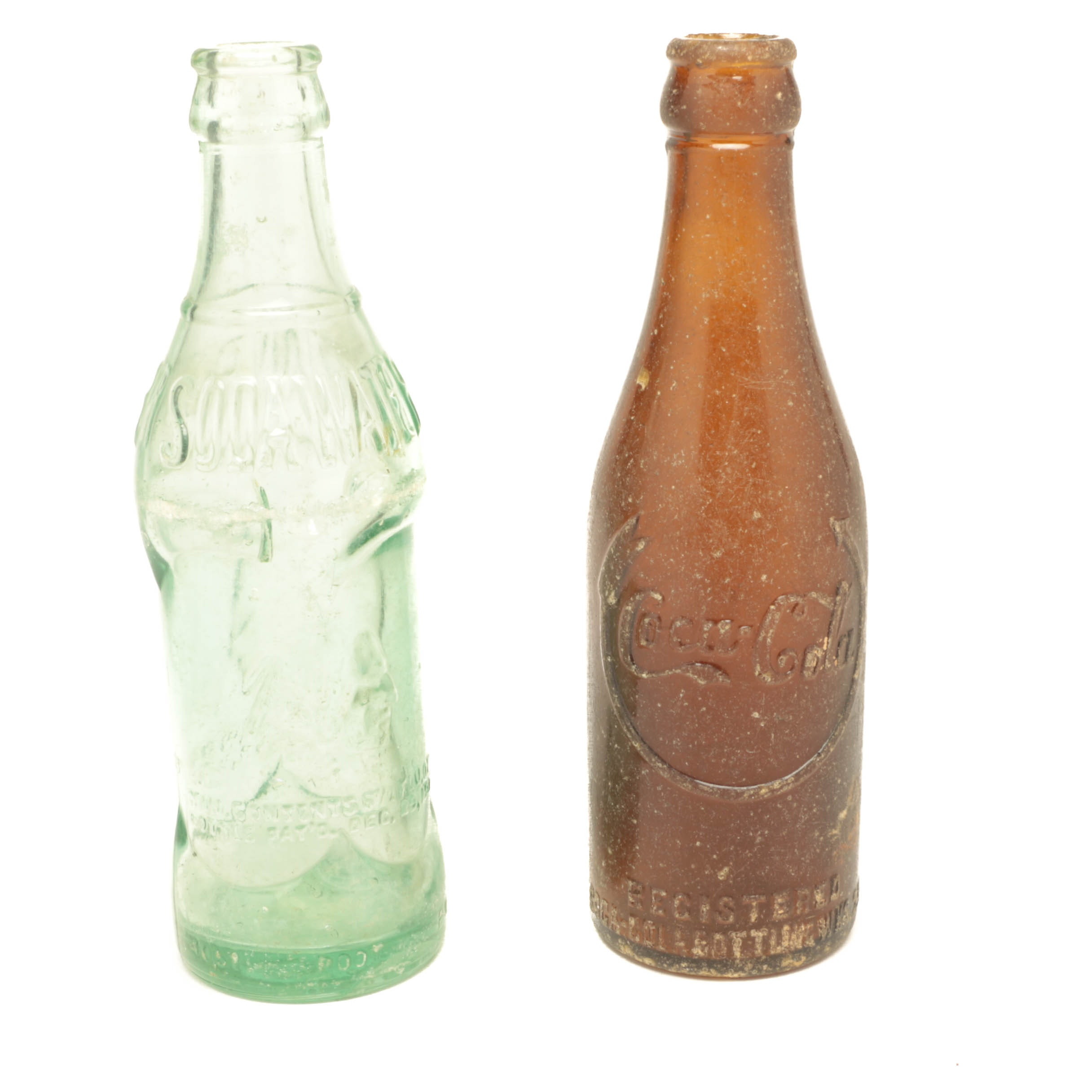 Pair of Vintage Coca-Cola and Indian River Sods Water Bottles
