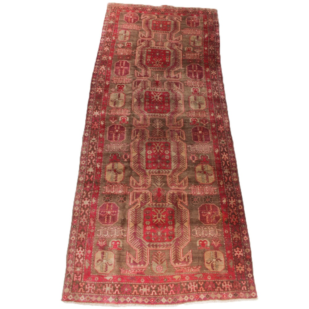 Vintage Hand Knotted Persian Heriz Runner
