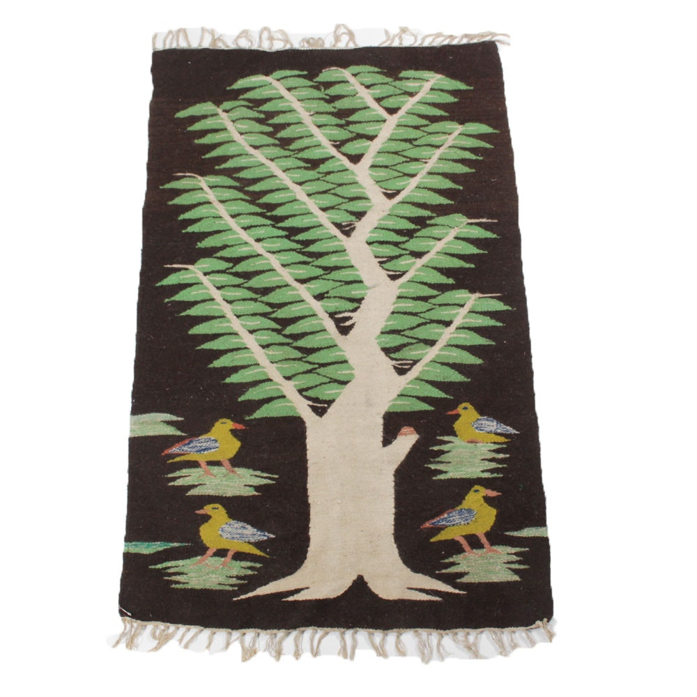 Vintage Hand Woven South American Tree of Life Rug