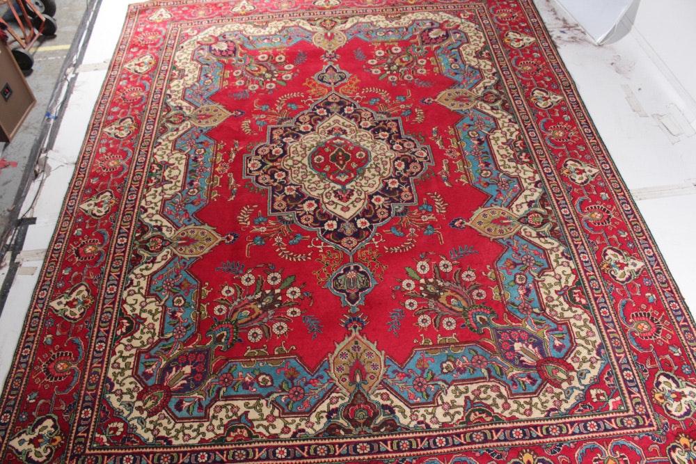 Vintage Hand Knotted Indo-Persian Tabatabai Tabriz Room Size Rug