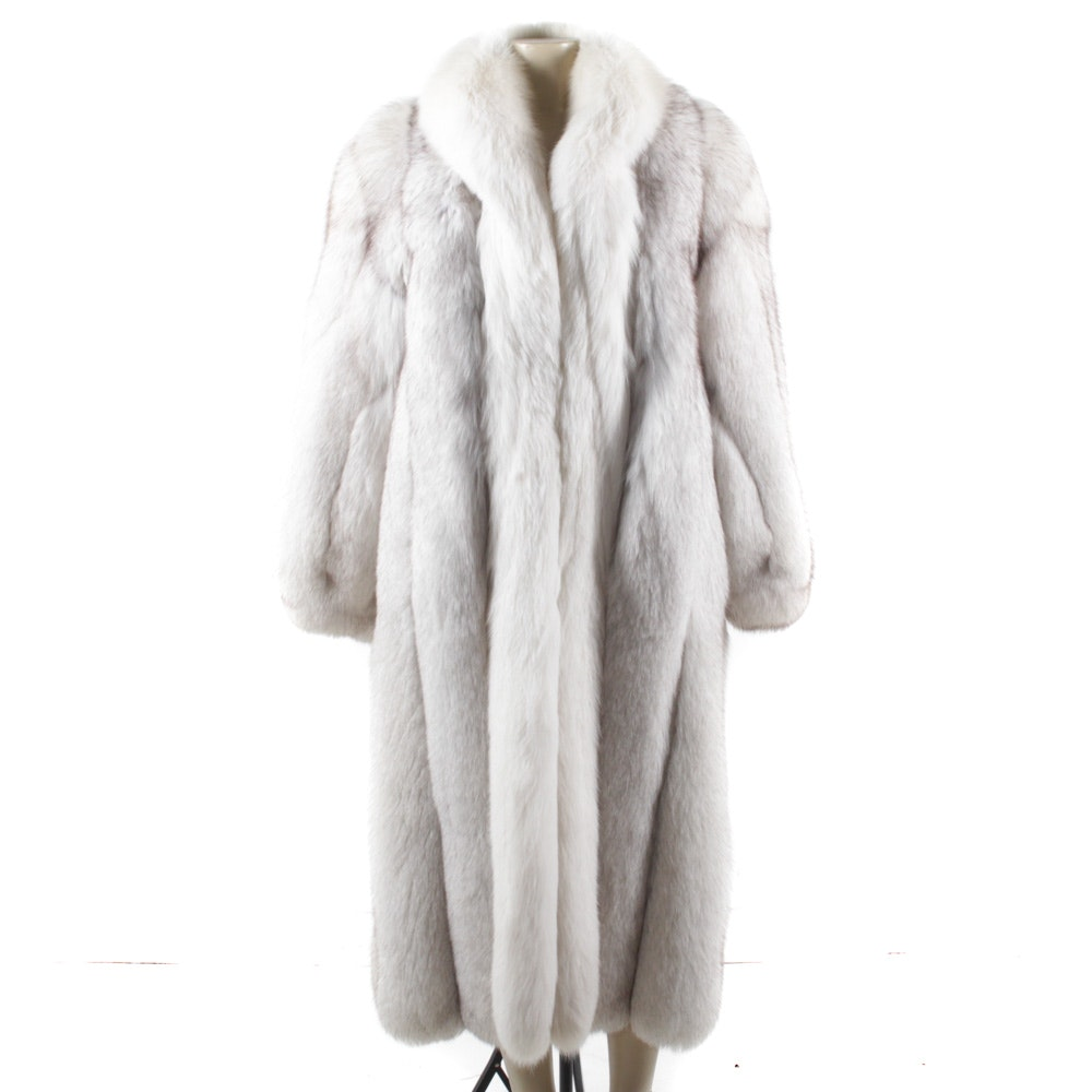 Blue Fox Fur Full-Length Coat