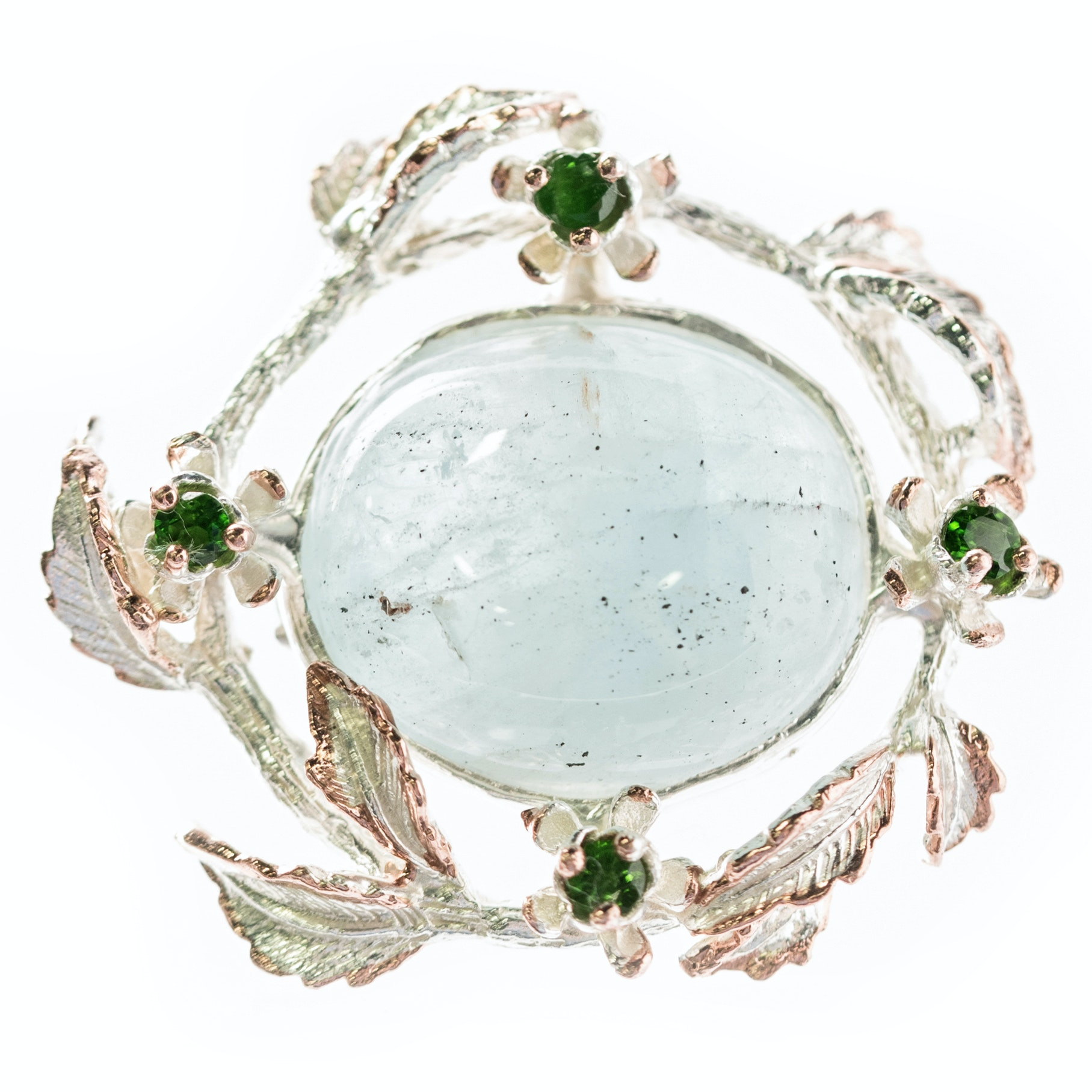 Sterling Silver, 30.55 CT Aquamarine, and Chrome Diopside Leaf Frame Brooch