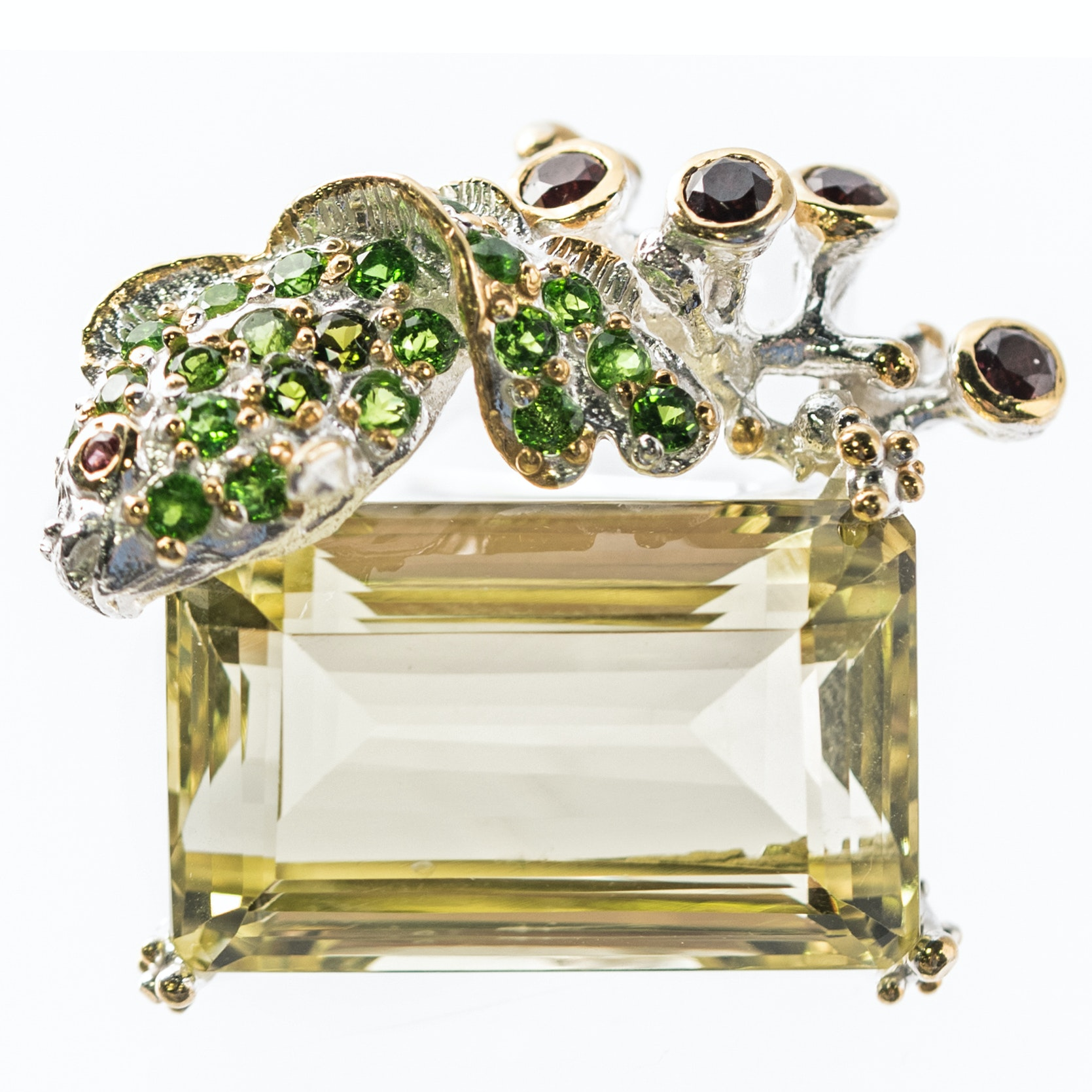 Sterling Silver, 28.18 CT Lemon Quartz, Peridot, and Garnet Fish Brooch
