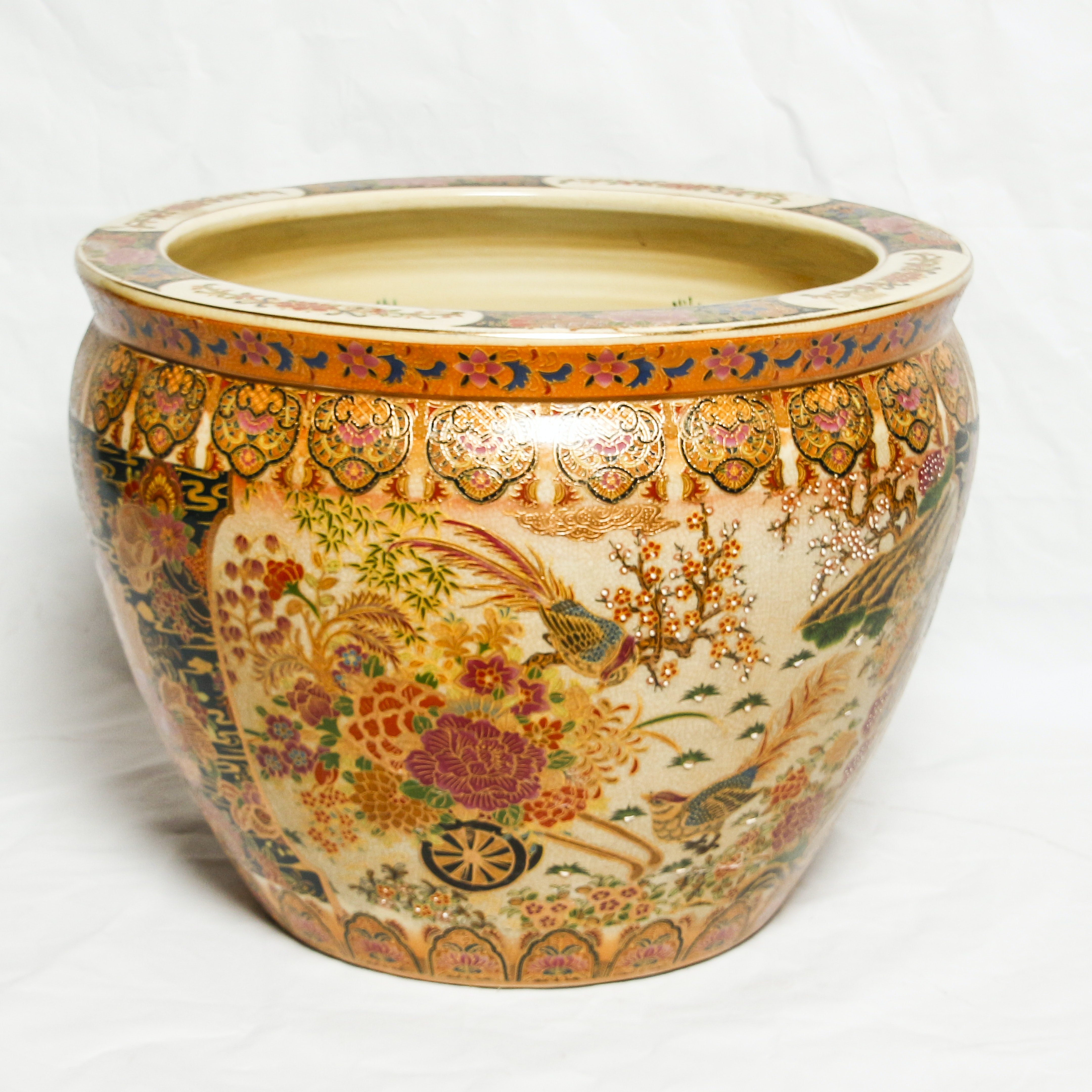 """Chinese Satsuma Style Floral """"Fishbowl"""" Porcelain Planter with Gilt Trim"""