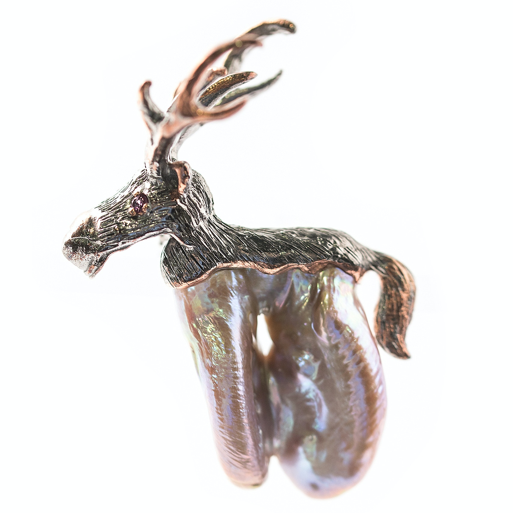 Oxidized Textured Sterling Silver, Freshwater Pearl, and Garnet Deer Brooch