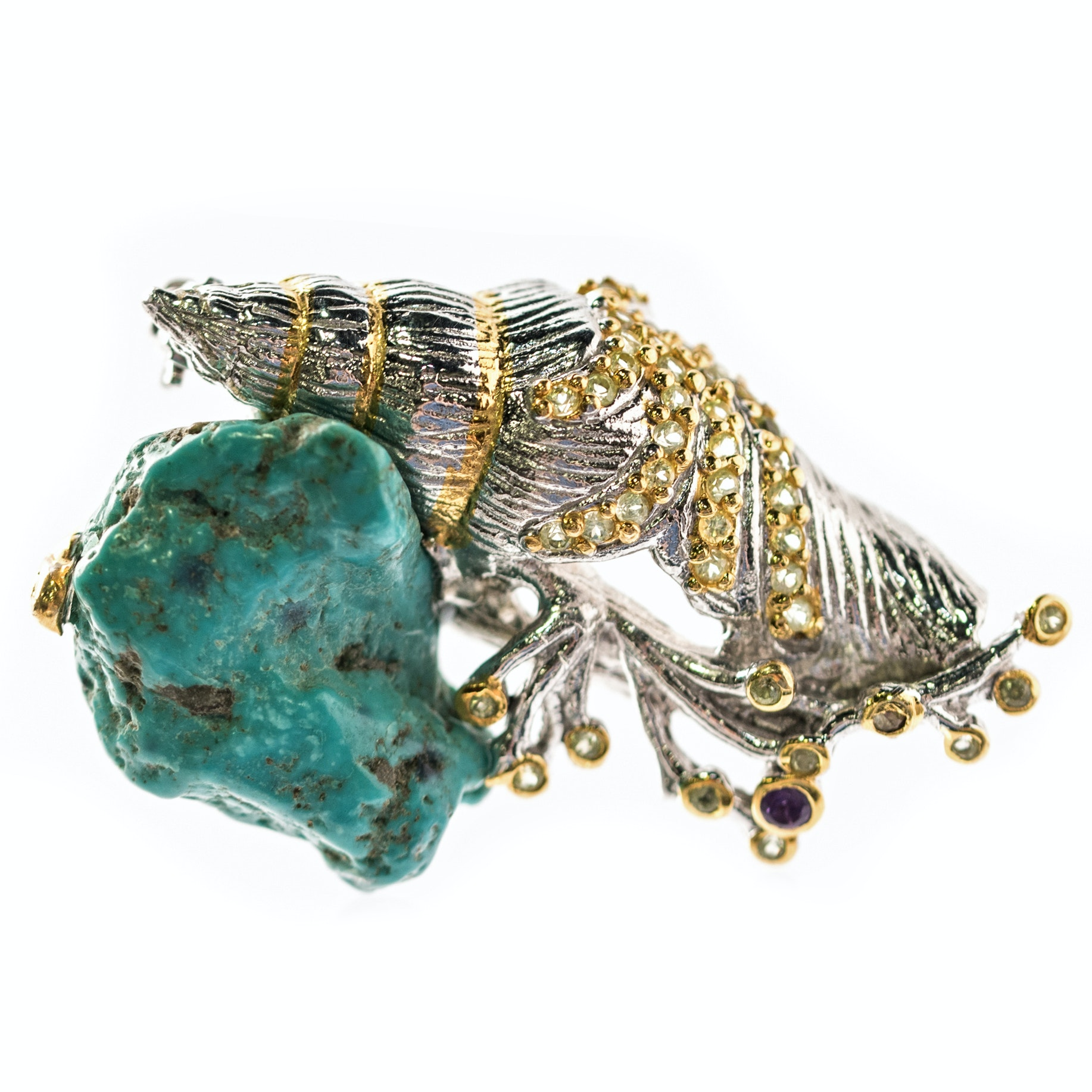 Sterling Silver, Turquoise Nugget, 1.08 CTW Quartz, and Amethyst Shell Brooch