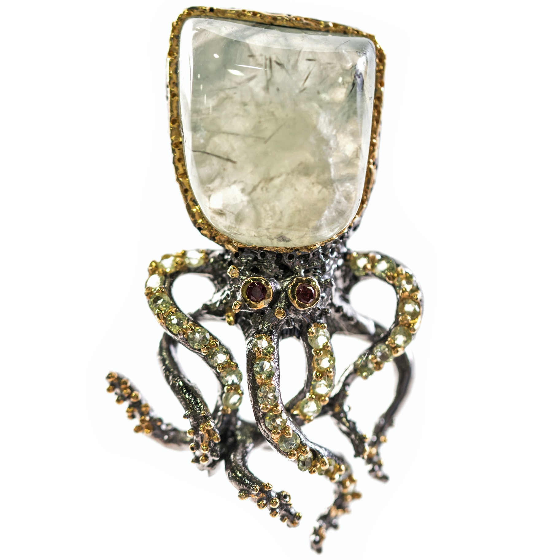 Sterling Silver, Aquamarine, 1.16 CTW Peridot, and Garnet Octopus Brooch