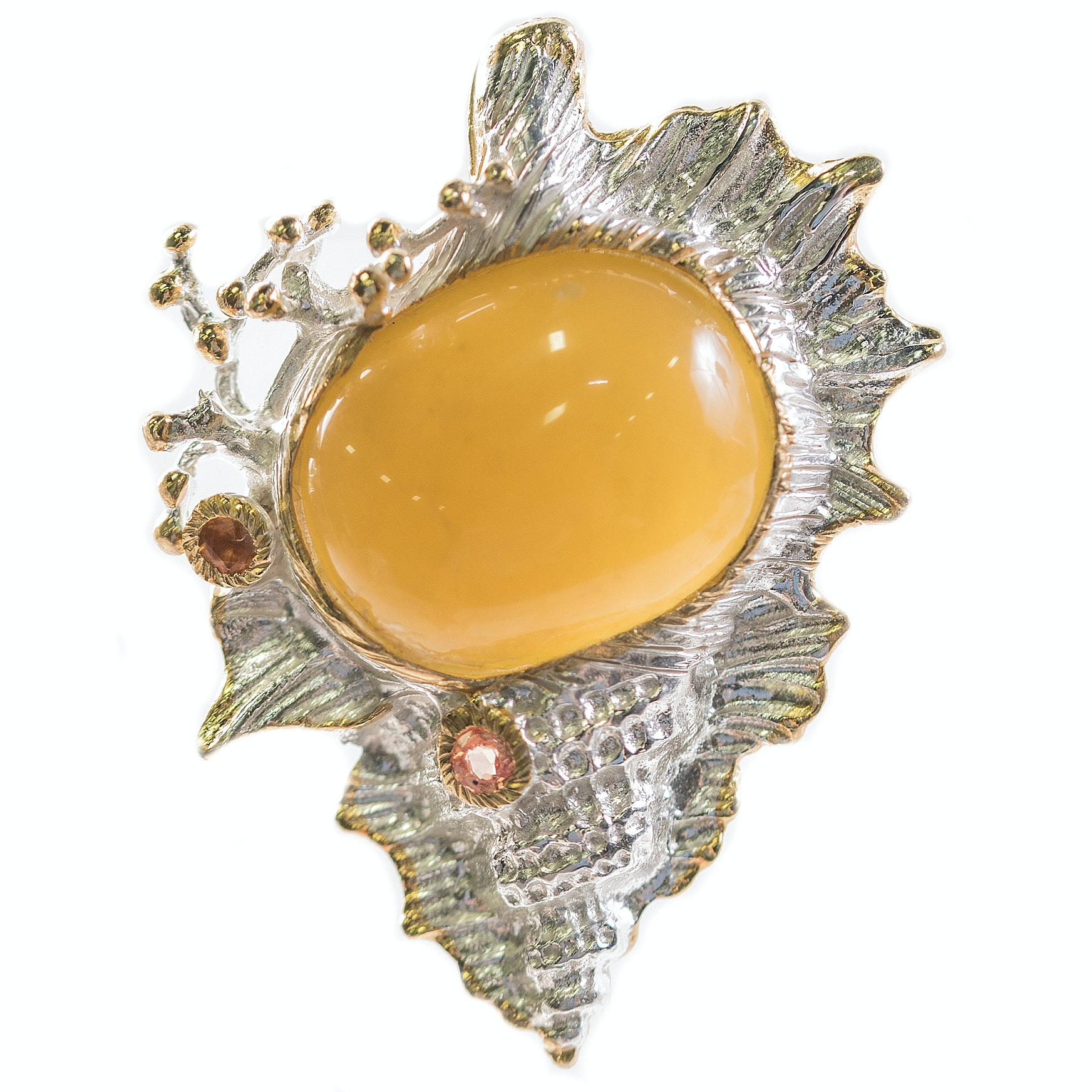 Sterling Silver, 11.90 CT Moss Opal, and Sapphire Shell Brooch