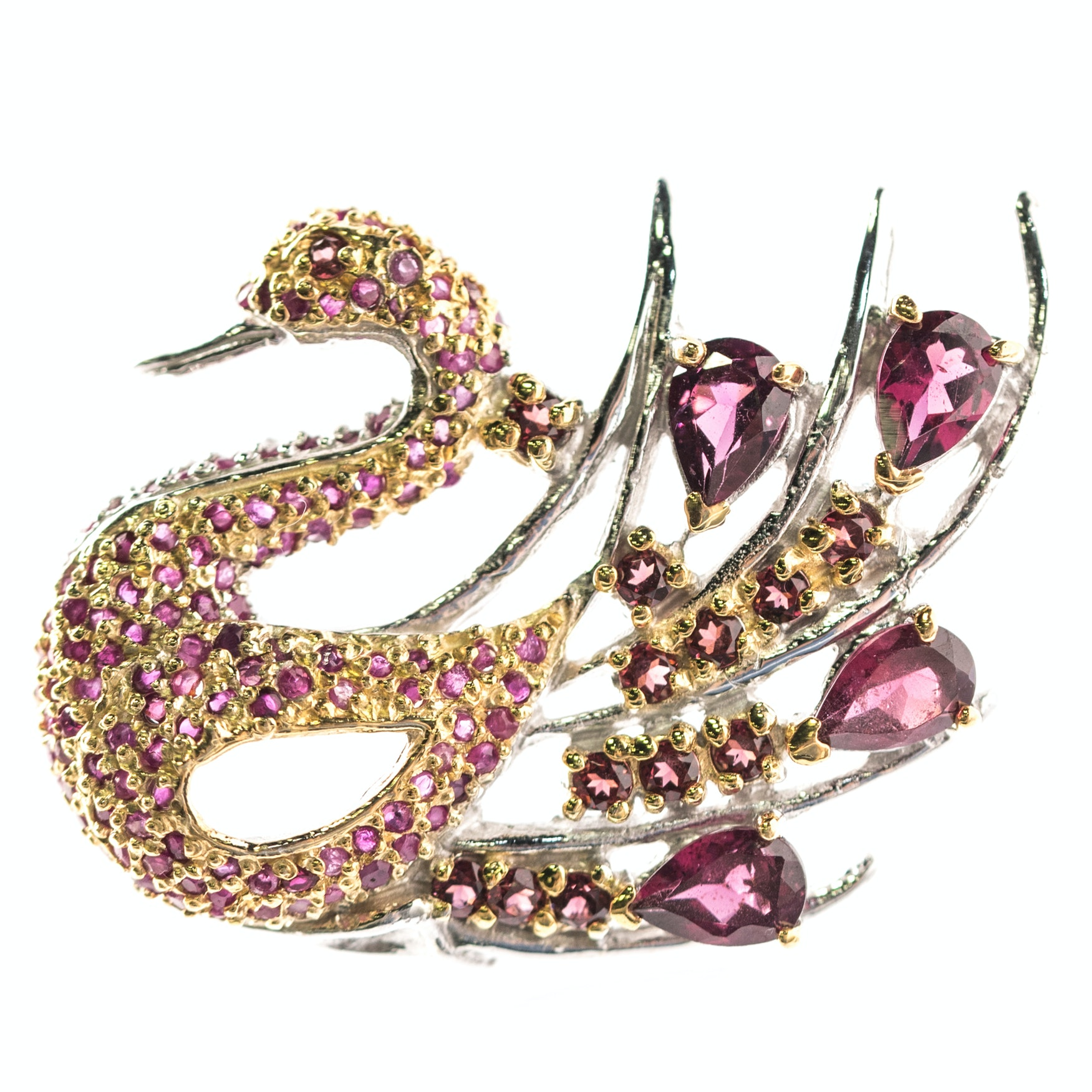 Sterling Silver, 3.04 CTW Ruby, and Garnet Swan Brooch