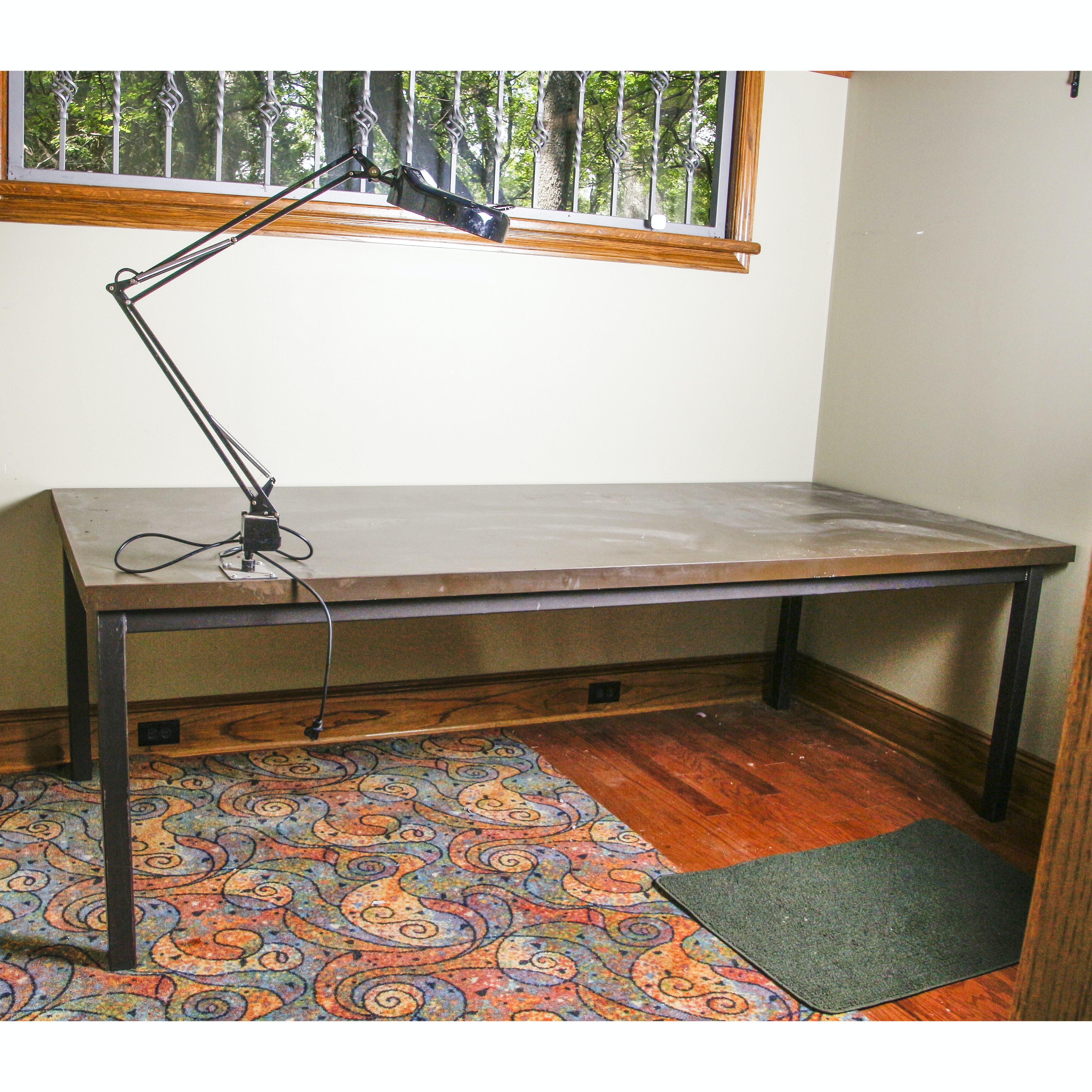 Contemporary Work Table with Magnifying Lamp
