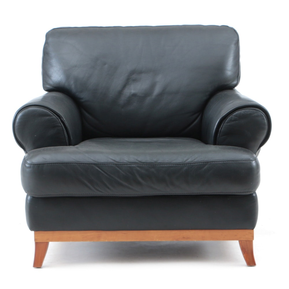 Italian Black Leather Lounge Chair