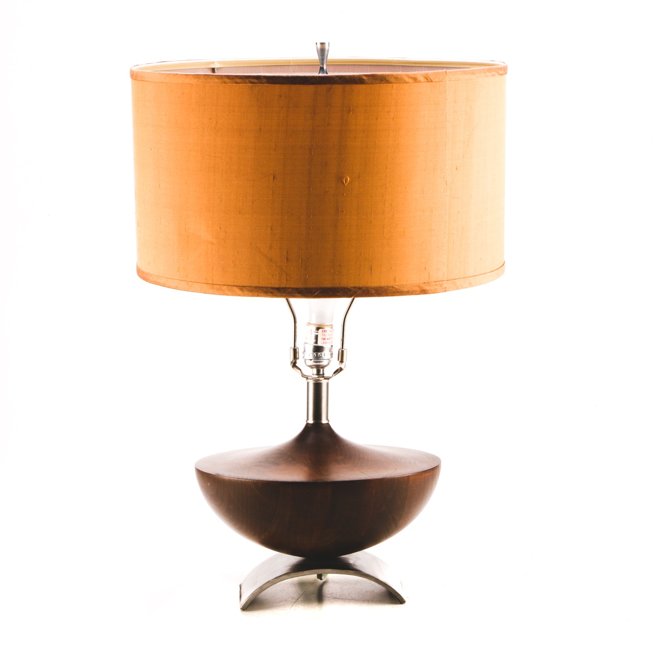 Mid-Century Modern Wood and Metal Table Lamp