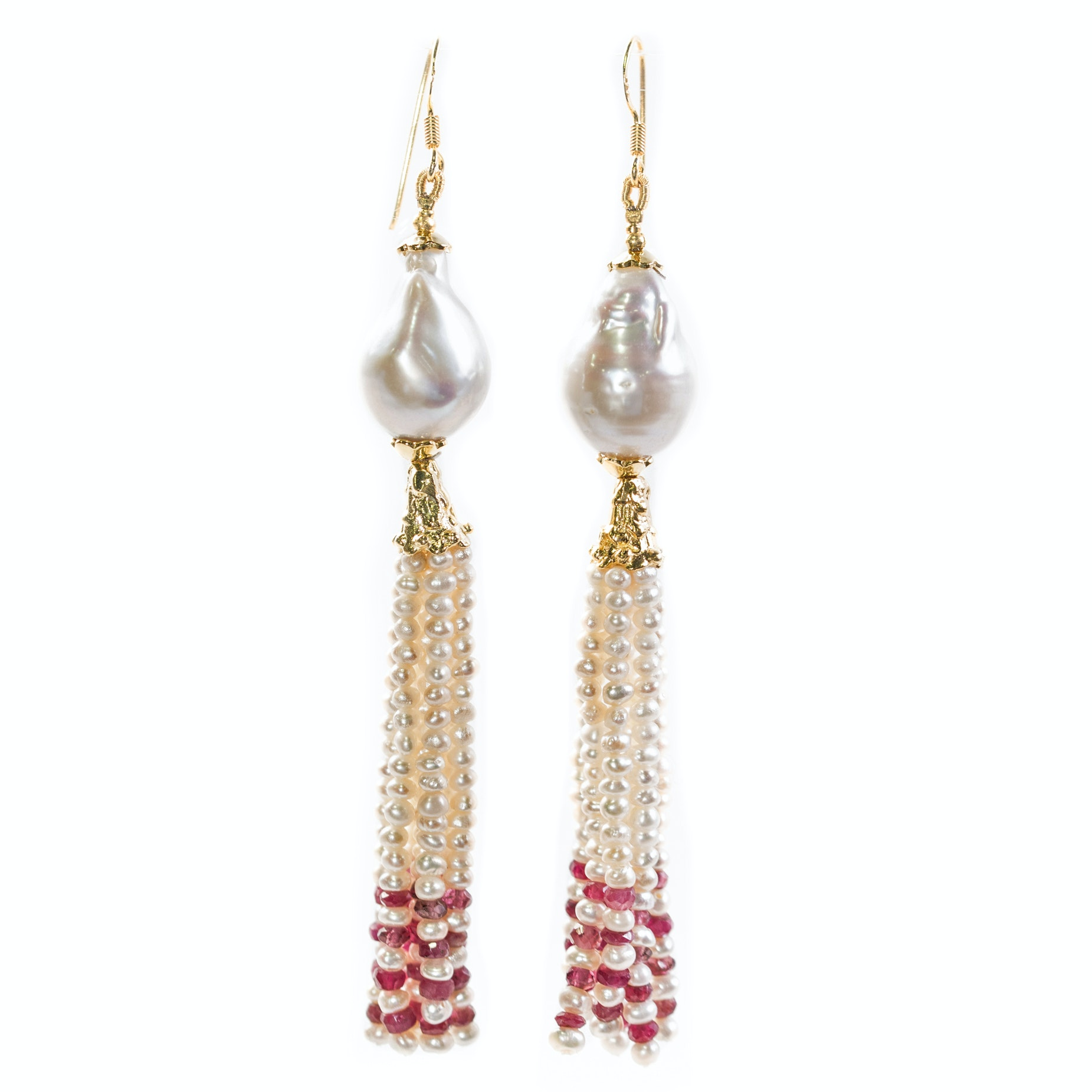 Sterling Silver Freshwater Pearl and Ruby Tassel Drop Earrings