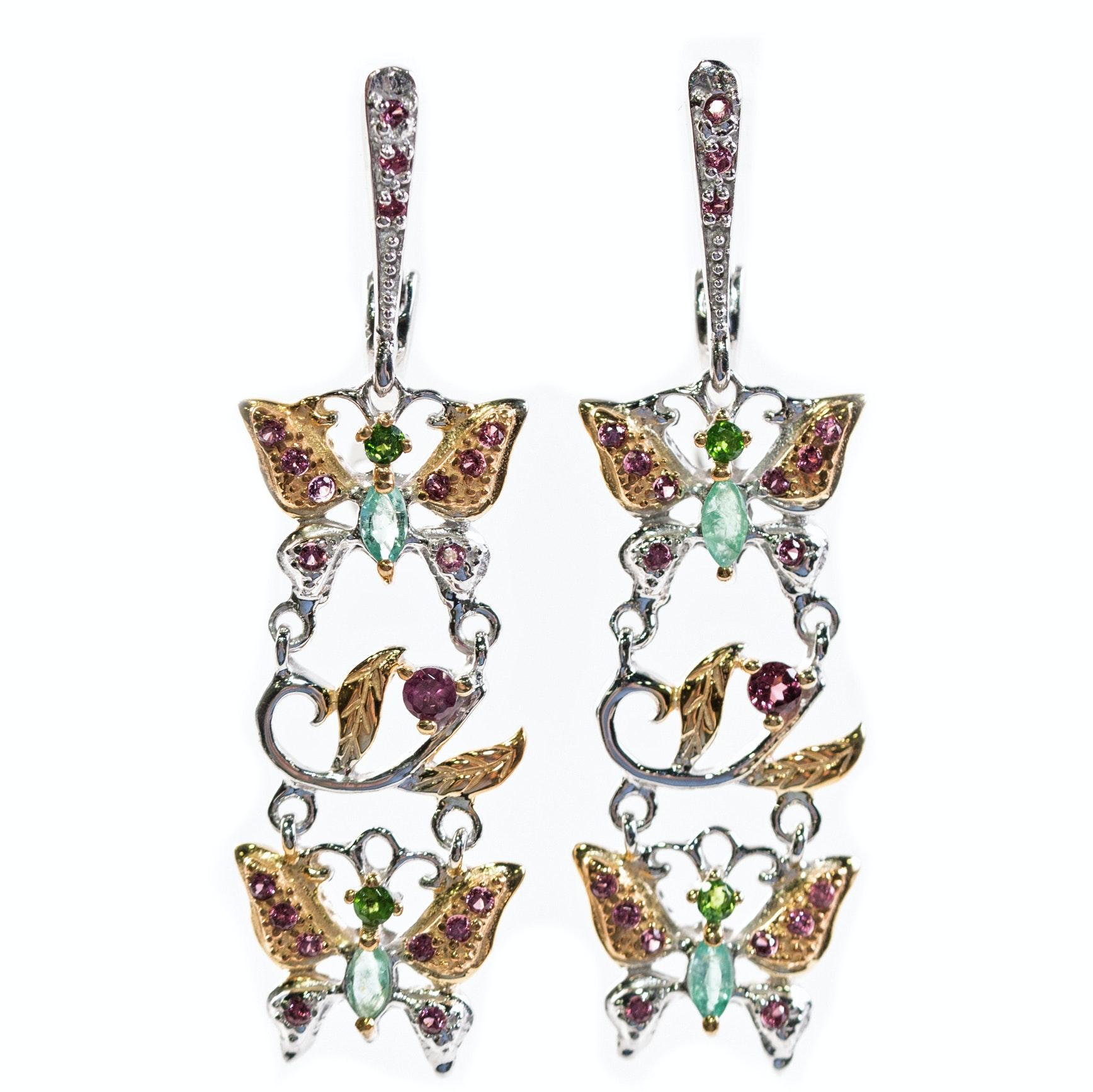 Sterling Silver, Emerald, and 1.42 CTW Garnet Butterfly Dangle Earrings