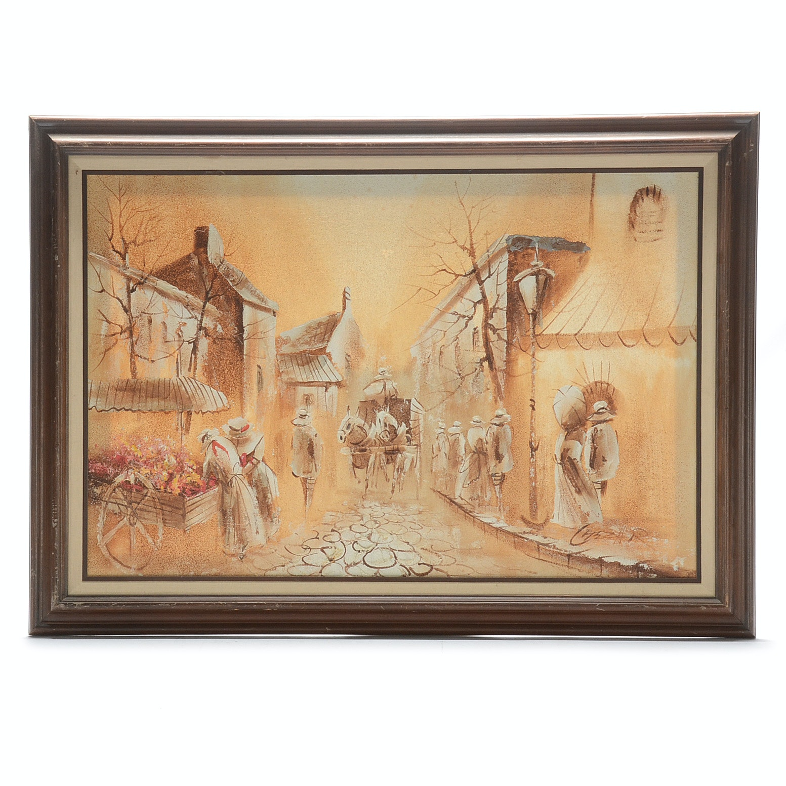 Mid-Century Signed Impasto Oil on Canvas Street Scene