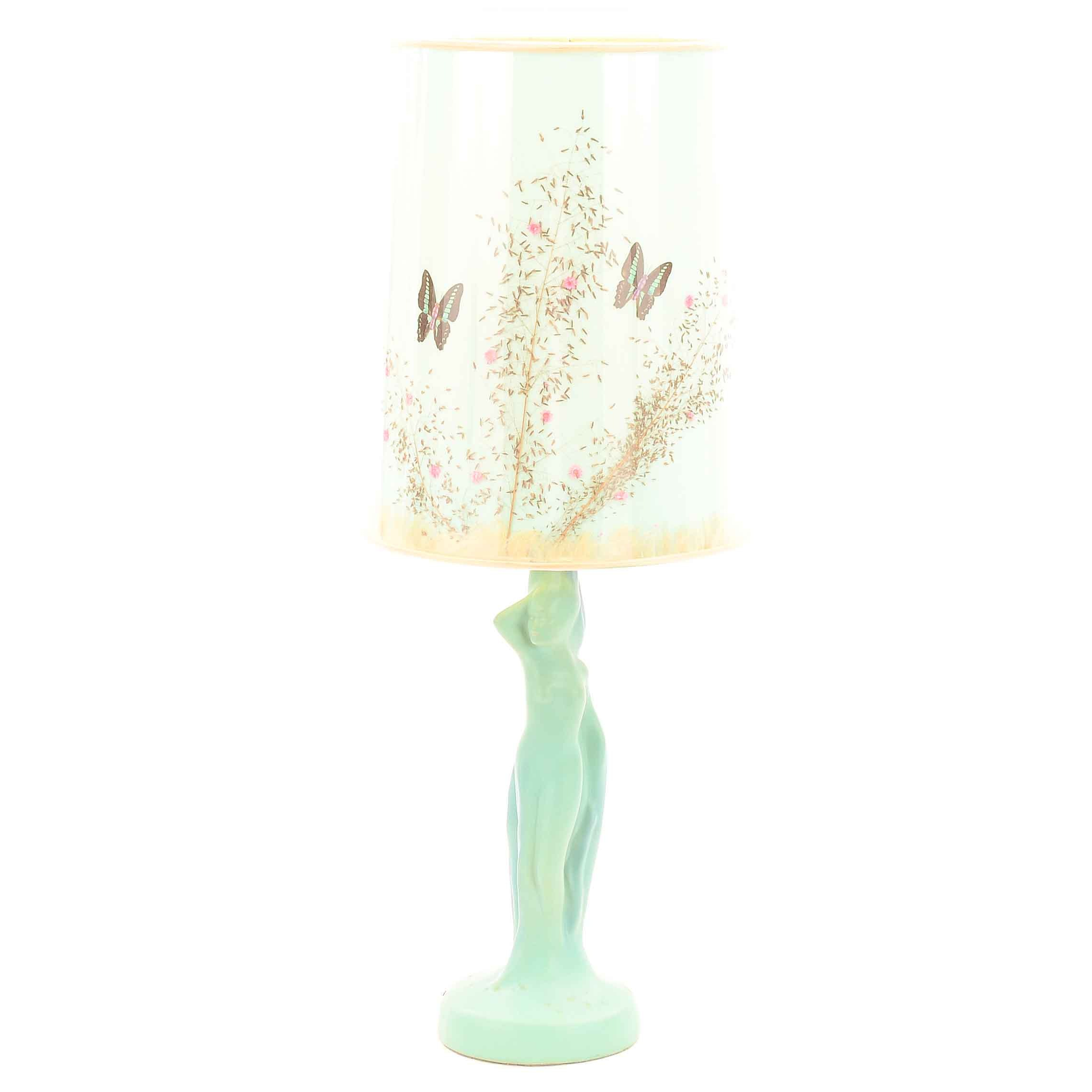 Van Briggle Mid Century Modern Ceramic Nude Lamp
