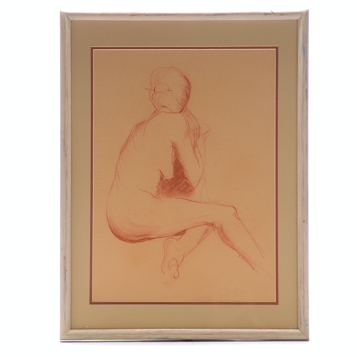 P. Saunders Original Red Conté Figure Drawing on Paper