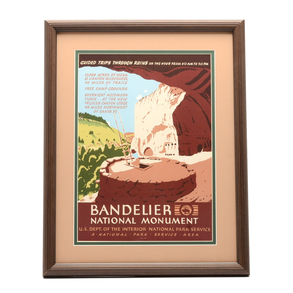 Offset Lithograph Reproduction WPA Travel Poster for Bandolier National Monument